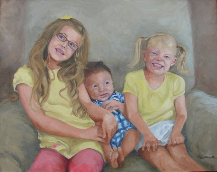 portrait Oil painting of Me and My Sisters